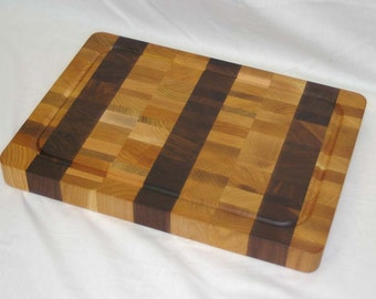 SALE! Cutting Board End-grain Light Color with 3 Walnut Stripes Medium Size