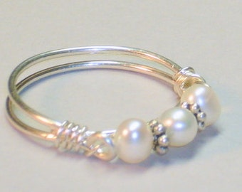 Pearl Band, Purity Ring, Sterling Silver, Includes Inspirational Card