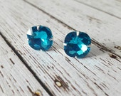 Large Aqua Turquoise  Blue Crystal Stud Earrings, Purchase 3 or more get 10% off