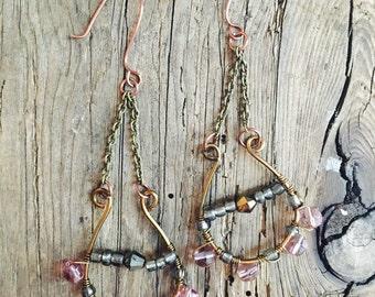 wire wrapped crystal bead earrings boho dangling chandelier brass ear wire sensitive hooks festival wear cochella style