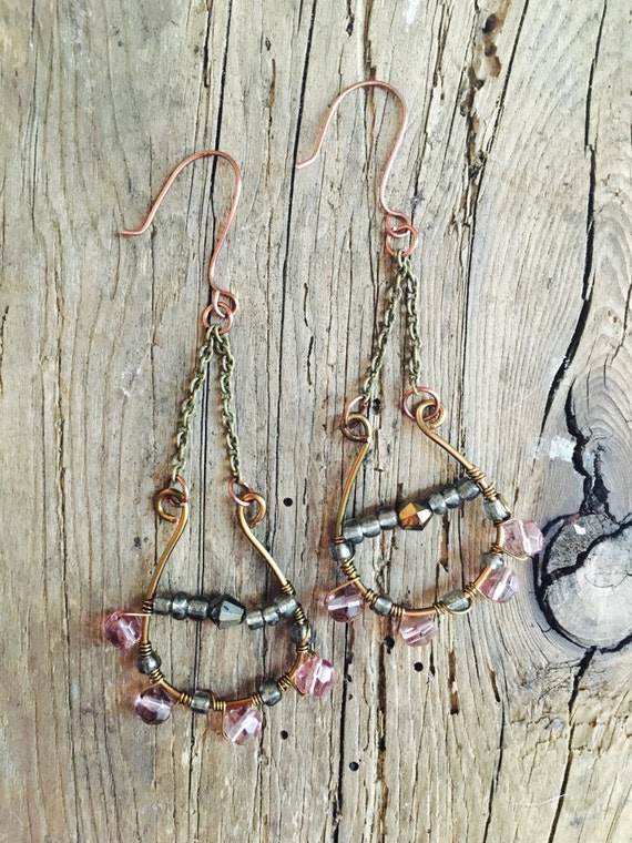 wire wrapped crystal bead earrings boho dangling chandelier brass ear wire sensitive hooks festival wear cochella style
