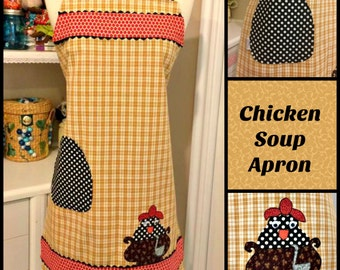 Handmade Chicken Soup woman's cute appliqued towel apron