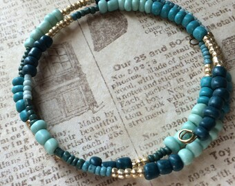 Turquoise blue and golden memory wire bracelet hippie jewelry boho bracelet
