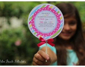 15 DELUXE GLITTER Candyland Lollipop Birthday Invitations by Palm Beach Polkadots