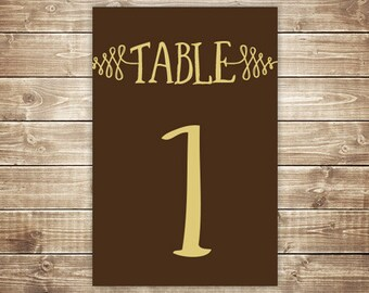 Printable Table Number Card - Woods - Brown and Custard - INSTANT DOWNLOAD