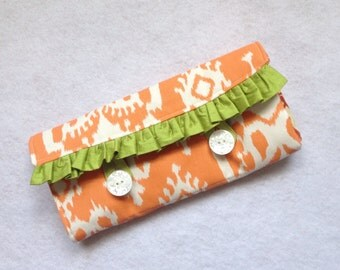 Necklace Travel Case -orange fold up jewelry organizer, roll up travel jewelry case, honeymoon travel, bridal shower gift, mother's day