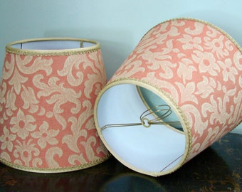 Lamp shade red beige fabric clip top