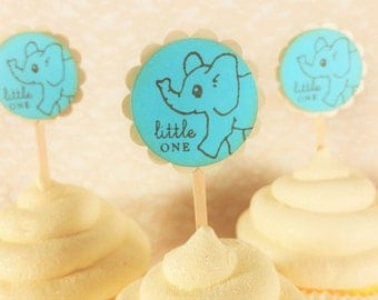 Elephant Cupcake Toppers, Baby Shower, Gender Reveal Party, Birthday, Baby Boy, Cake Toppers, Plant Picks