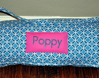 Nap Mat - Monogrammed Navy Tonal Quatrefoil Nap Mat with Hot Pink Minky Dot Blanket