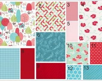 Crib Bedding - Little Red, Pink, & Turquoise Baby Bedding - Bumper, Crib Skirt, and Crib Sheet Set