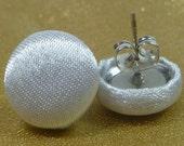 Bridal Satin White Fabric Button Earrings