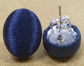Navy Blue Satin Fabric Button Earrings