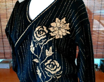 Vintage NWT 80s Metallic Rose black and gold Disco Sweater M L