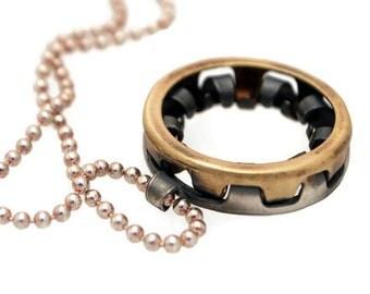 Deep Groove- Kugellager-Silver & Bronze Ball Bearing Necklace-Industrial Design-For Mechanic-Grange-Dirty Urban-Alternative Mens Jewelry-MJ