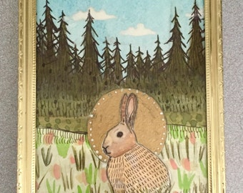 Rabbit Icon - Original Watercolor Painting 5 X 7 - Framed