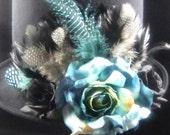 Turqoise Twilight Top Hat, Day of the Dead/Halloween/Mardi Gras/Wedding/Cosplay Accessory