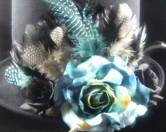 Turqoise Twilight Top Hat, Day of the Dead/Halloween/Mardi Gras/Wedding/Cosplay Accessory