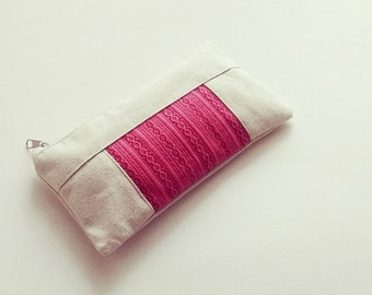 Natural Canvas Zipper Pouch, Cotton Pencil Pouch, Pencil Case, Travel Organizer,  Pen Pouch, Back to School,  Pencil Bag, Hot pink pouch