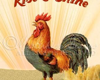 Rise & Shine Rooster Printable Art - 8x10 Inch Digital Artist Farm Print / Ready To Frame /Printable Instant Download / Digital Sheet