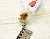 Vial necklace secret love, Personalized message in glass bottle, Silver tone chain, best friend, lover gift, marriage proposal, woman, charm