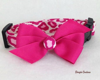 Doogie Couture PINK LEOPARD Dog Collar Size XS through Large by Doogie Couture