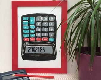 Cheeky Calculator Linocut Print - Maths Print, Geeky Gift, School Print, Science Print, Lino print wall art, office art, Funny Print