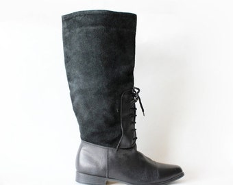ON SALE Vintage Black Leather & Suede Lace Front Tall Flat Boots, size 8