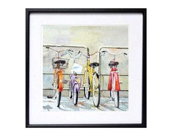 Watercolor bike bicycle Art PRINT, Watercolour painting, Aquarrelle Florence Italy, Watercolor Painting, Bike art grey red travel art, BCT