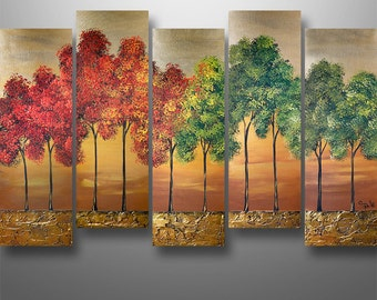 """Abstract, Painting,  Landscape. Acrylic, Original,Wall Art, Wall Decor, Trees. Asian, Art by Gabriela 50"""", Tree painting, Mpderm Painting,"""