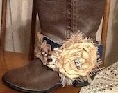 MADE TO ORDER    Boot bracelet made from burlap with flowers