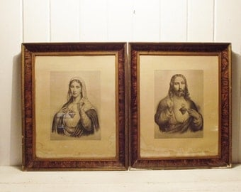 Vintage Wood Framed Sacred Heart Lithographs Jesus and Mary Religious Prints