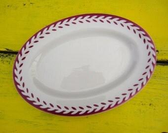 Vintage Shenango Airbrush Leaf Pattern Oval Plate Platter