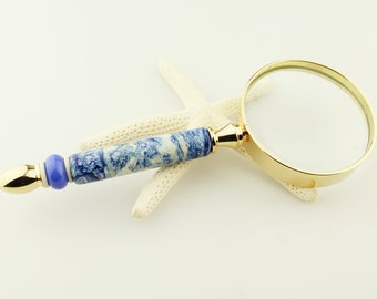 Lampwork Glass Beaded Magnifier with Handmade Blue Lampwork Bead, Magnifying Glass