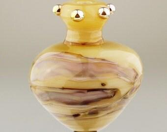 Lampwork Glass Bead, Large Hollow Focal, Cream, Gold, Jar, Vase Bead
