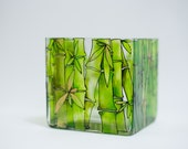Golden bamboo -- hand painted square vase