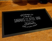 Personalised with any name Welcome Coffee Bar runner counter mat