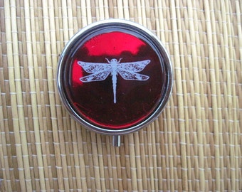 Metal Pill Box Case Holder with Fused Glass and Dragonfly