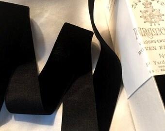 Vintage 1930's French Silk Velvet Ribbon 1 Inch Gorgeous Jet Black