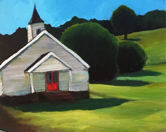 Country Church- 16x20 Original Painting by Cari Humphry