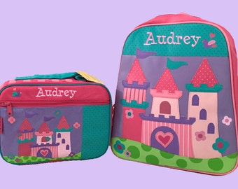 Child's Personalized Stephen Joseph PRINCESS CASTLE Themed GoGo Backpack and Lunchbox School Set-Monogramming Included In Price