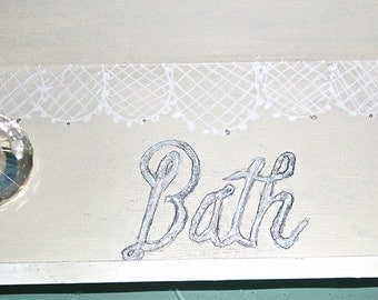 Wood Tray with scalloped edges, hand painted lace and word BATH