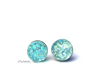 Crystal Mint Studs, Faux Druzy Titanium Post Earrings, 8mm Cabochons
