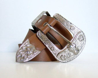 Faux Leather Silver Bull Large Buckle Belt Cowboy Cowgirl Tan Brown Childrens Belt