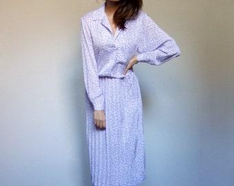 80s Purple Dress Long Sleeve Floral Print Accordion Pleat Day Dress - Large L