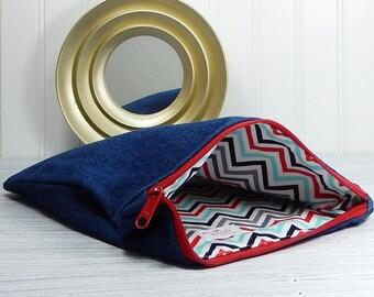 Denim zipper bag, denim cosmetics pouch, flat zipper bag, Knitting supplies bag, rustic makeup bags