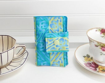Blue Green Tea wallet - Teabag case for travel - tea wallet by Purple Grace made in Maine - teal