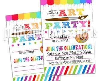 Art Party Invitation, Painting Party Invitation, Printable Invitation