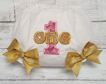 Pink & Gold Glitter Birthday Personalized Diaper Cover Bloomers with Bows  AGE 1  2  3