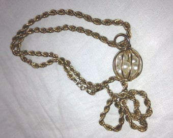 Vintage 1970s Braided Gold Rope and Pearl Cage Necklace Unique