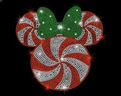 """9.1"""" Christmas candy Minnie Mouse iron on rhinestone Christmas transfer applique bling patch"""